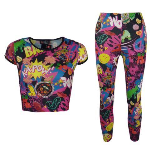 New Girls Comic Print Stylish Crop Top /& Comic Book Pinkish Fashion Legging Set