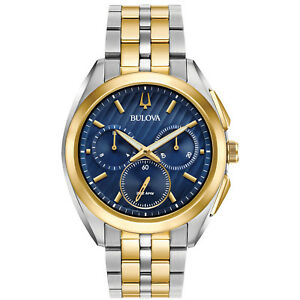 Bulova CURV Men's Quartz Chronograph Blue Dial 43mm Watch 98A159