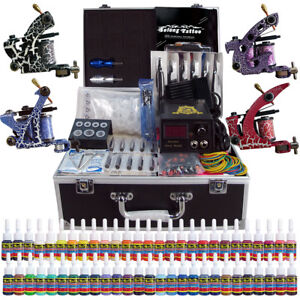 Solong Tattoo Complete Tattoo Kit 4 Machine Gun 54 Ink Power Set ...