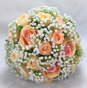 White Rose And Babys Breath Bridal Bouquet