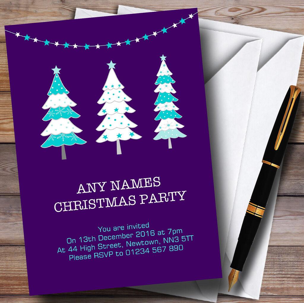 Xmas Trees lila Personalised Christmas Party Invitations