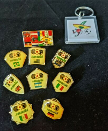 Vintage World Cup Mexico 1986 Pin Badge Set with Key chain Sport Billy Prods1984