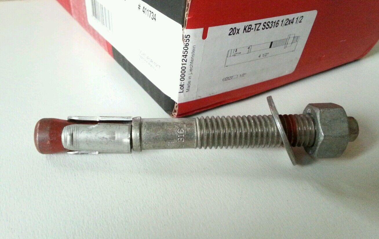 (20pcBox) Hilti 1 2  x 4-1 2  Concrete Anchor 316 SS, Expansion, KWIK