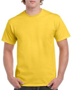 Yellow Gildan 5000l Men S Plain 100 Cotton Blank T Shirt Tee Sizes S 2xl Ebay