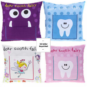 Details About 30cm X 30cm Boys Girls Tooth Fairy Pillow Cushion Kids Money Note Letter Pocket