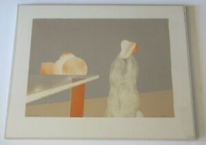 SIGNED MYSTERY ARTIST LITHOGRAPH ABSTRACT SURREALISM NUDE FIGURES AND FRUIT VNTG