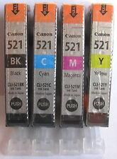 Canon Genuine CLI-521Bk CLI-521C CLI-521M CLI-521Y Set. New.