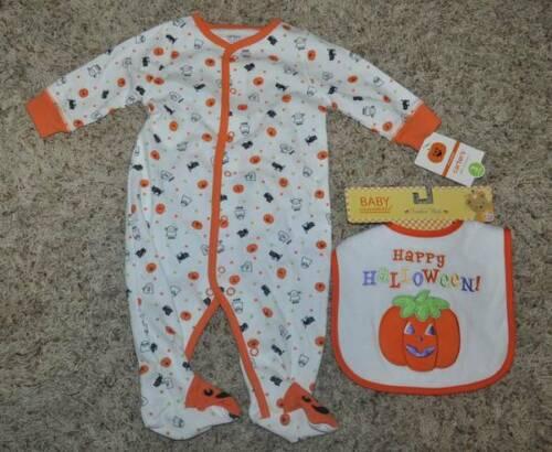 Unisex Carters Halloween Sleep n Play 1 Pc White Orange Pajamas /& Bib-sz 6 mths