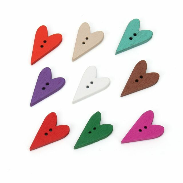 Hot 100x Mixed Colors 2 Holes Heart Wooden Buttons Scrapbooking Sewing Craft