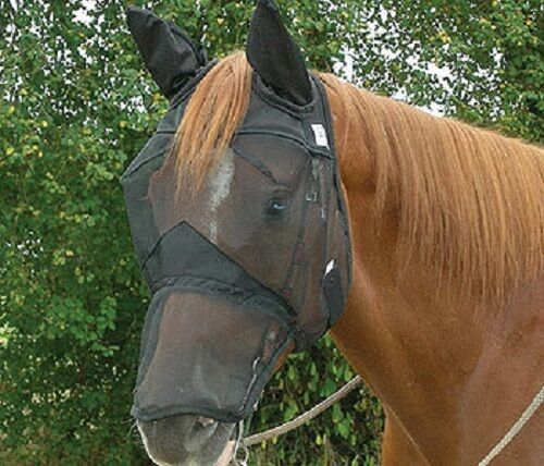 CASHEL QUIET RIDE FLY MASK LONG NOSE with EARS ARAB QUARTER HORSE Trail Riding