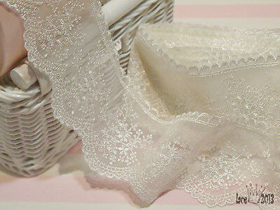 """Embroidery scalloped mesh net eyelet lace trim 2.9"""" Off white YH1009 laceking"""