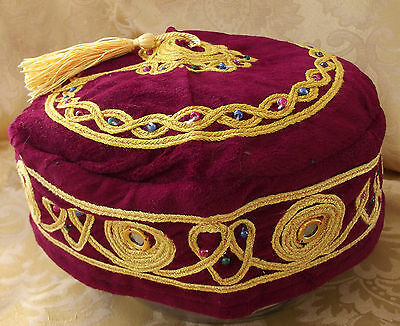 Smoking cap Burgundy velvet hat gold tassel XL 2XL 3XL 4XL NEW gift for men