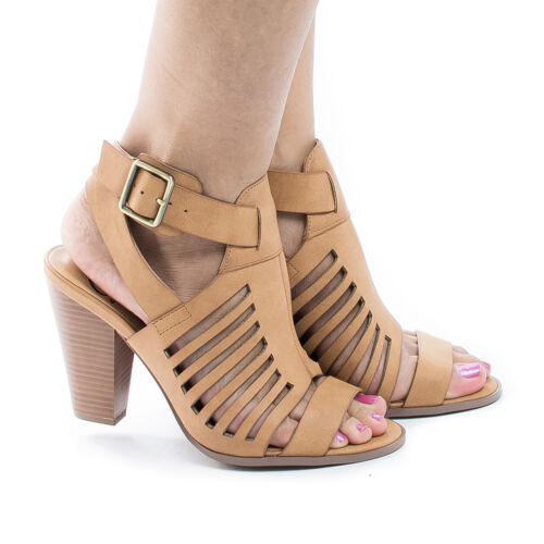 YummyDS Women Shoes Cone Block Heel Dress Sandal w Gladiator Cage Straps