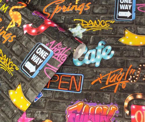 Charcoal Brick with Graffiti /& Neon Signs Wallpaper