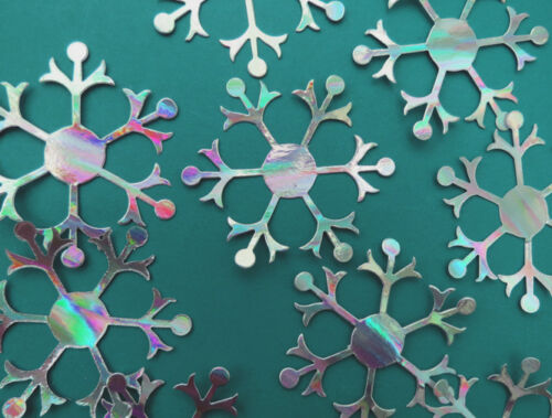 Packs of 10 Snowflake die cuts Large 8cms Silver holographic 300 gsm card