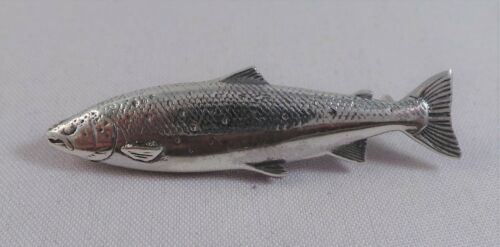 NEW STERLING SILVER SALMON BROOCH TROUT PIN BADGE