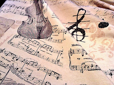 "MUSIC NOTES Designer Curtain Upholstery Cotton Fabric Material 55""/140cm wide"