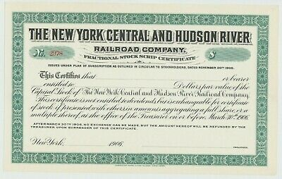 $10,000 1910/'s New York Central And Hudson River Railroad Bond Stock Certificate