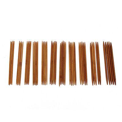 55Pcs/set 5'' 11 Sizes Double Pointed Carbonized Bamboo Knitting Needles