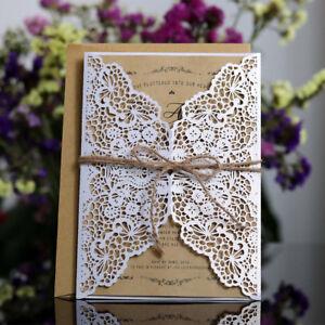 Detalles De Cn 10pcs Elegante Floral Lace Party Invitación Para Boda Tarjetas De