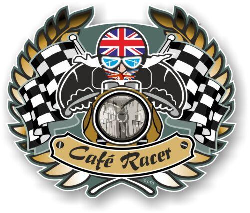 Retro Cafe Racer CREST Ton Up Biker Club Union Jack Flag vinyl car bike sticker