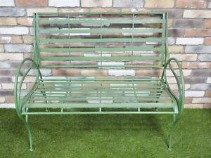 Brilliant Details About Rustic Green Curved Two Seater Garden Bench Gmtry Best Dining Table And Chair Ideas Images Gmtryco