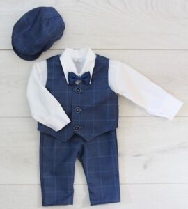 a37a67b6c2 Details about Baby Boy Suit Gentleman Navy Outfit Smart Party Birthday  Baptism Christmas