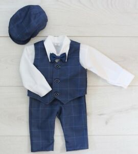 216f5f603 Baby Boy Suit Gentleman Navy Outfit Smart Party Birthday Baptism ...
