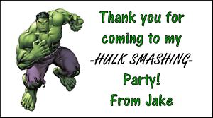48 Hulk Marvel merci Autocollants Étiquettes Sac Fête Sweet Cônes personnalisé