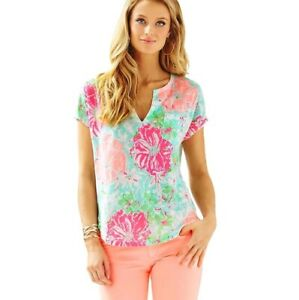 Lilly-Pulitzer-Duval-Notch-Neckline-Linen-Top-Poolside-Blue-Beach-Walk-Size-XS