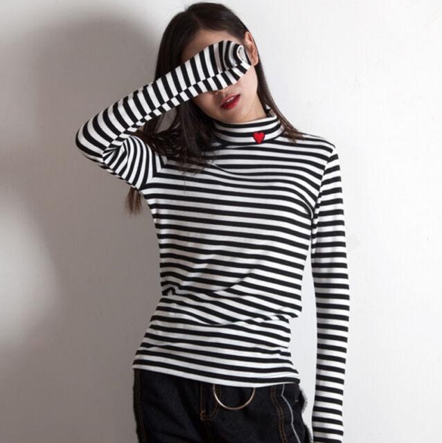 Hot Sale! Women High Collar Heart Embroidery Long Sleeve T-shirt Bottoming Tops