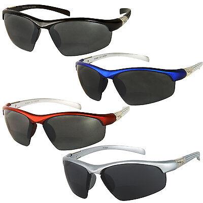 Bifocal Sunglasses Black Fishing Sports Wrap Around UV Protection Cat 3 Lenses
