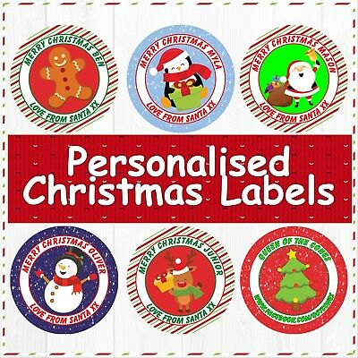 48 Christmas Party Bag Stickers Sweet cone Labels Xmas Snowman Personalised