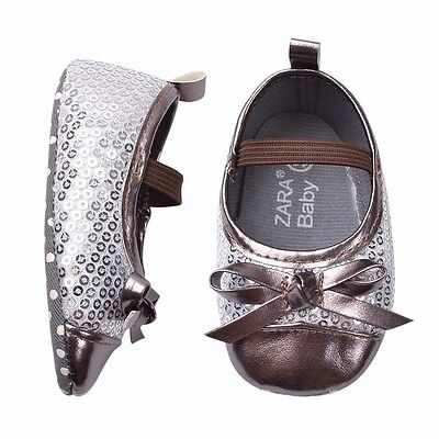 BNWT Infant Baby Girls Silver Sequin Dress Shoes 0 6 12 18 months size145 | eBay