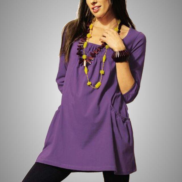 Minikleid *** Tunika / Long Shirt - 3/4-Arm - Baumwolle  Gr.38 flieder NEU