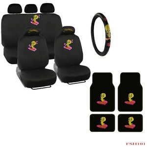 new tweety bird front rear car floor mats seat covers steering wheel cover. Black Bedroom Furniture Sets. Home Design Ideas