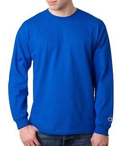 256e7b960dba Champion Men's 100% Cotton Crewneck Long-Sleeve Solid Athletic T ...