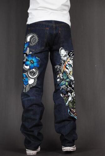 Men/'s Skate Baggy Loose Rap Hip Hop Jeans Denim Print Trousers Long Pants UH89