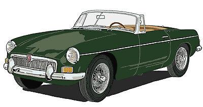 MG early MGB sports car canvas art print