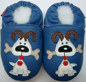 Minishoezoo-Hund-Blau-6-12-M-US-3-4-Weiche-Sohle-Baby-Lederschuhe-Geschenk