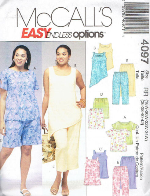 Mccall\'s 4097 Plus Size Sewing Pattern for Women Top Pants Shorts Tunic  18w-24w