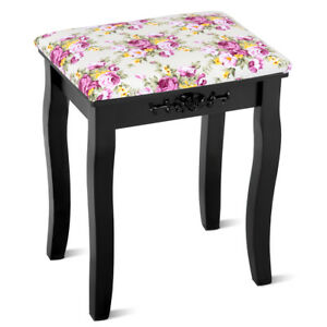 Vanity Wood Dressing Stool Padded Chair Makeup Piano Seat Rose Cushion Black