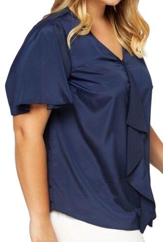Femme été neufs bleu évasée manche volantée Panneau tunique t shirt Shift Top