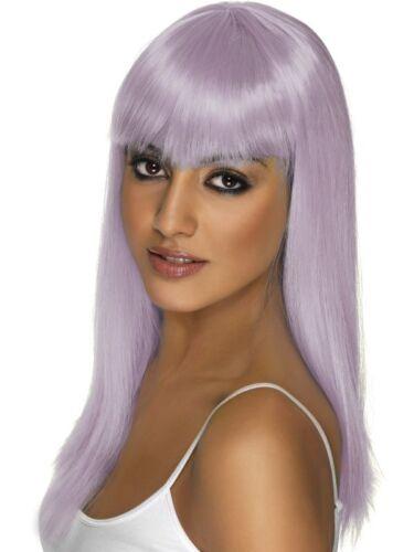 Lilac Glamourama Wig Long Straight w// Fringe Adult Smiffys Fancy Dress Costume