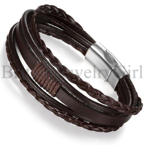 Multilayer Leather Bracelet Vintage Braided Rope Bracelet Bangle for Men Women
