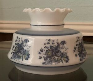 Vintage-White-Glass-Hurricane-Chimney-Lamp-Shade-Blue-flowers-Floral-6-1-2-034-Fit