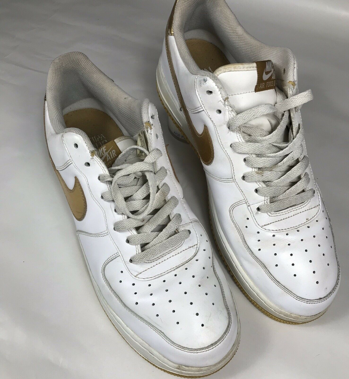 Nike Air Force 1- size 14 US  Metallic gold   White 315092-171  2006 shoes