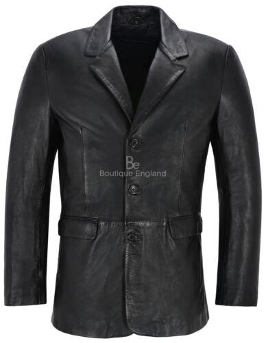 Mens Leather BLAZER Black Classic ITALIAN Tailored Soft REAL LEATHER Slim Jim