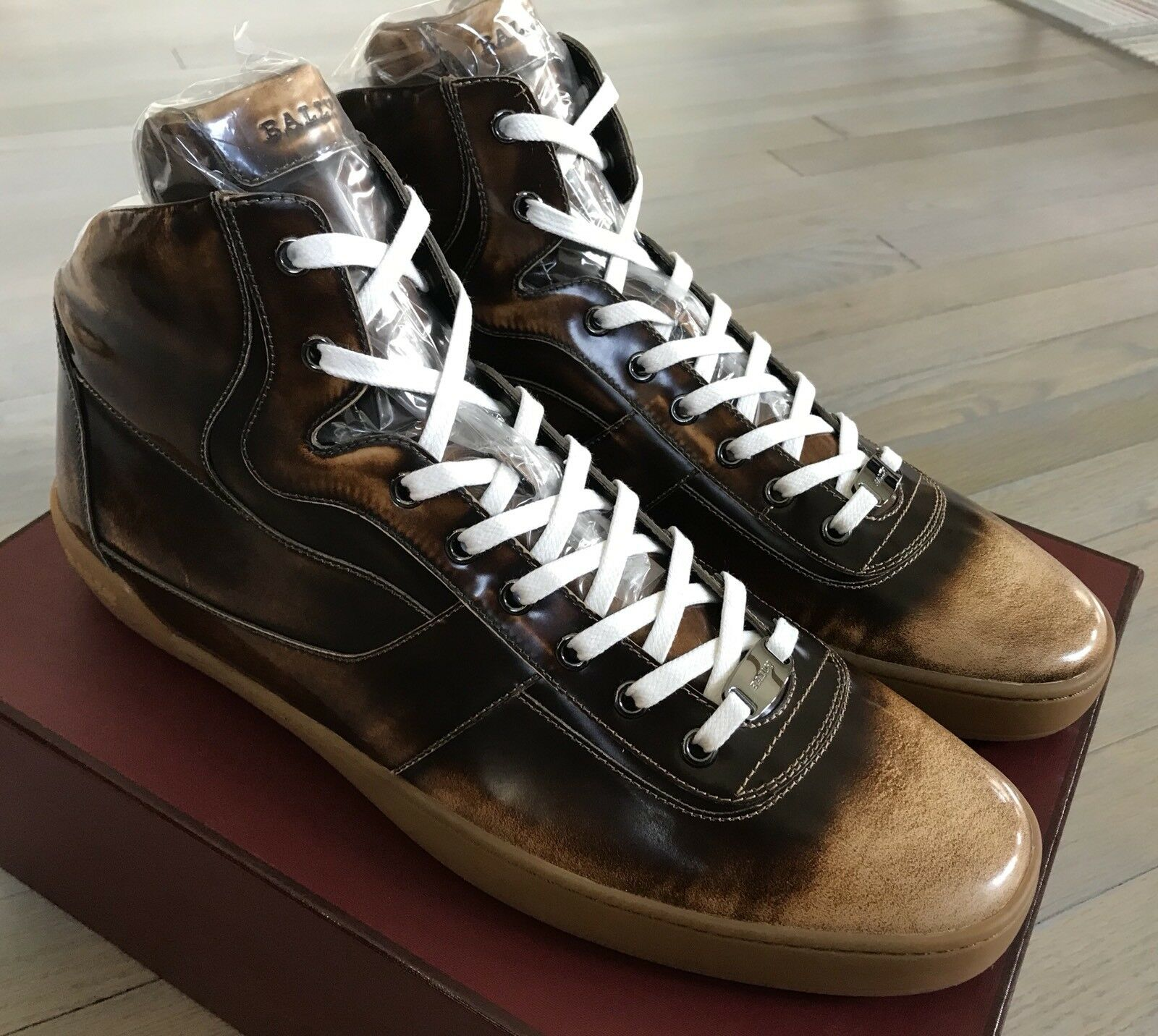 700$ Bally Eroy 582 Brown Brushed High Tops Sneakers size US 13