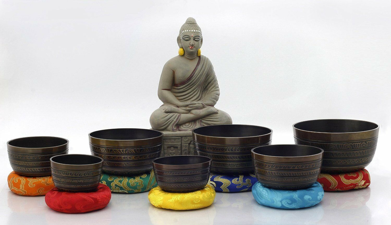 Chakra Healing Tibetan Singing Bowl Braun 7 Sets of Meditation Bowls by NHZ